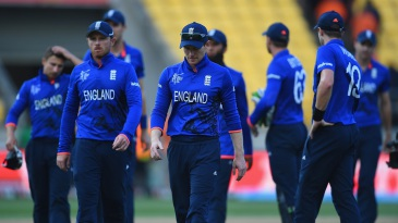 England trudge off the field after losing by nine wickets