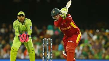 Brendan Taylor drills one through the off side