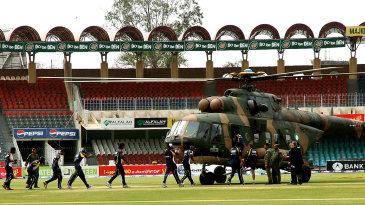 Sri Lankan players prepare to board a Pakistani military helicopter