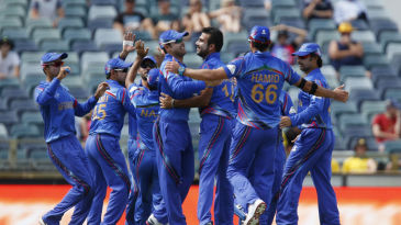 Afghanistan celebrate the wicket of Aaron Finch