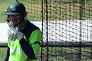 Alex Cusack adjusts his gear in the nets, World Cup 2015, Hobart, March 5, 2015