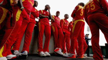 The Zimbabwe players wait in the tunnel before the start of the game