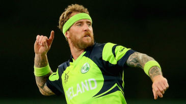 John Mooney reacts after taking the wicket of Sikandar Raza