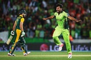 Sohail Khan is thrilled with the wicket of AB de Villiers, Pakistan v South Africa, World Cup 2015, Group B, Auckland, March 7, 2015