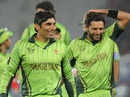 Misbah-ul-Haq and Shahid Afridi are all smiles after the 29-run win, Pakistan v South Africa, World Cup 2015, Group B, Auckland, March 7, 2015