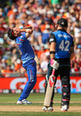 Hamid Hassan reacts to a close call against Brendon McCullum, New Zealand v Afghanistan, World Cup 2015, Group A, Napier, March 8, 2015