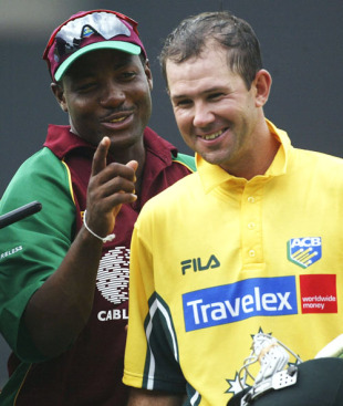 Captains Brian Lara of the West Indies and Ricky Ponting of Australia share a joke as they leave the field after the 2nd One Day International between the West Indies and Australia on May 18, 2003 at Sabina Park in Kingston, Jamaica.
