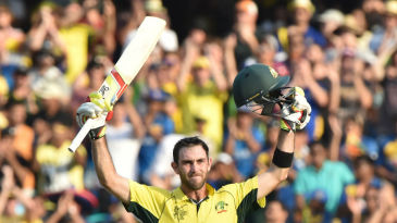 Glenn Maxwell acknowledges the crowd after scoring a ton
