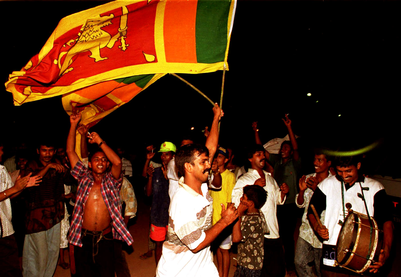 You weren't expecting us: Sri Lankan fans in Colombo celebrate the win no one had predicted
