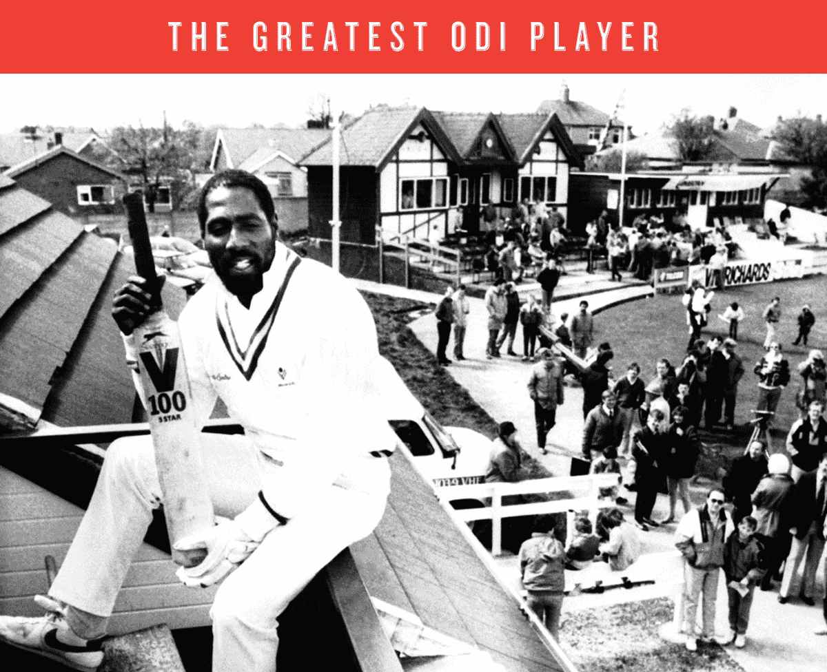 Viv Richards sits on top of a stand at the Rishton club ground