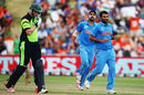 Mohammed Shami celebrates the wicket of Kevin O'Brien, India v Ireland, World Cup 2015, Group B, Hamilton, March 10, 2015