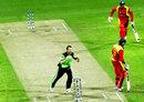 Alex Cusack celebrates Tawanda Mupariwa's wicket, Ireland v Zimbabwe, World Cup 2015, Group B, Hobart, March 7, 2015