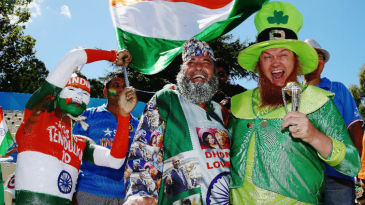 Indian and Irish fans enjoy the action