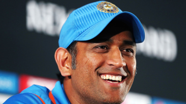 MS Dhoni is all smiles after India's fifth straight win in the tournament