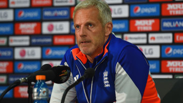 Peter Moores addresses the press