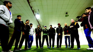 Coach Andy Moles talks to Afghanistan's players