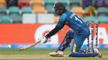 Kumar Sangakkara unleashes an unorthodox shot