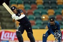 Freddie Coleman flays the ball through the on side, Scotland v Sri Lanka, World Cup 2015, Group A, Hobart, March 11, 2015