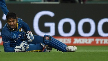 Kumar Sangakkara is relieved after holding on to a skier