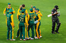 South Africa players celebrate the wicket of Andri Berenger, South Africa v United Arab Emirates, World Cup 2015, Group B, Wellington, March 12, 2015