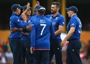 The England players get together after the wicket of Nawroz Mangal, Afghanistan v England, World Cup 2015, Group A, Sydney, March 13, 2015