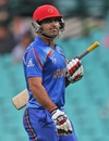 Samiullah Shenwari is disappointed after falling for 7, Afghanistan v England, World Cup 2015, Group A, Sydney, March 13, 2015
