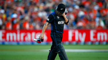 Brendon McCullum walks off after losing his wicket