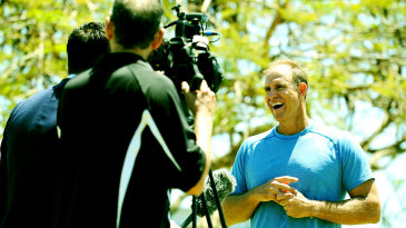 Matthew Hayden speaks to the media at the ICC World Cup net bowler programme launch at the Allan Border Field