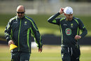 Michael Clarke and Alex Kountouris during Australia's training session, World Cup 2015, Hobart, March 13, 2015