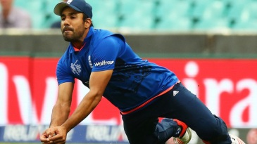 Ravi Bopara takes a diving catch to dismiss Shafiqullah