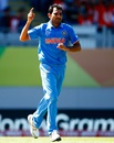 Mohammed Shami dismissed Chamu Chibhabha for 7, India v Zimbabwe, World Cup 2015, Group B, Auckland, March 14, 2015