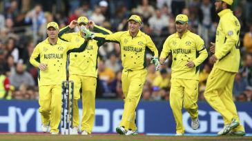 David Warner and Brad Haddin celebrate a wicket