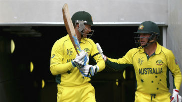 Michael Clarke and Aaron Finch walk out to bat