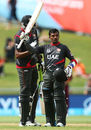 Nasir Aziz raises his bat after getting his maiden ODI fifty, United Arab Emirates v West Indies, World Cup 2015, Group B, Napier, March 15, 2015