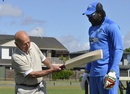 Bruce Pairaudeau tests his drive with Chris Gayle's bat, World Cup 2015, Napier, March 15, 2015