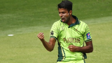 Ehsan Adil is pumped up after dismissing Paul Stirling