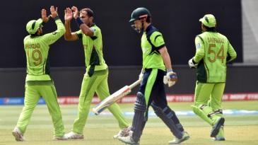 Pakistan celebrate after Wahab Riaz dismissed Ed Joyce
