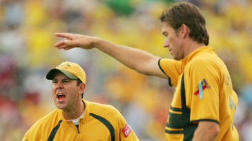 An angry Ricky Ponting gesticulates at a team-mate