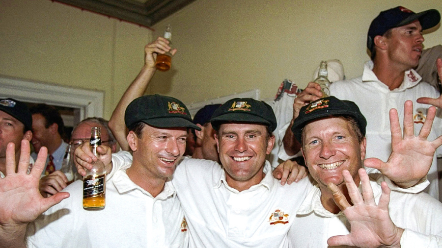 Steve Waugh, Mark Taylor and Ian Healy of Australia celebrate the victory over England