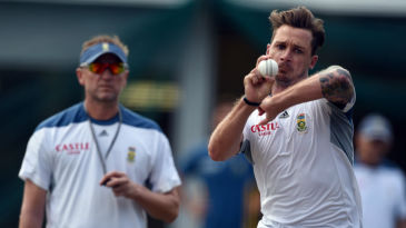 Dale Steyn bowls under the watchful eyes of Allan Donald