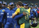 Mahela Jayawardene gets a hug from AB de Villiers, South Africa v Sri Lanka, World Cup 2015, 1st quarter-final, Sydney, March 18, 2015