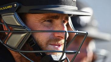 Kane Williamson waits for his turn to bat
