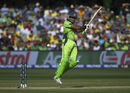 Sohaib Maqsood is airborne to cut the ball, Australia v Pakistan, World Cup 2015, 3rd quarter-final, Adelaide, March 20, 2015