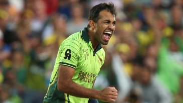 Wahab Riaz is thrilled after taking a wicket