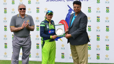 Asmavia Iqbal receives the Player-of-the-Match award