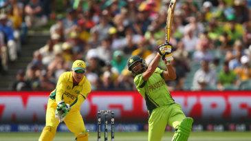 Shahid Afridi swings hard during his 15-ball 23