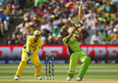 Shahid Afridi swings hard during his 15-ball 23, Australia v Pakistan, World Cup 2015, 3rd quarter-final, Adelaide, March 20, 2015