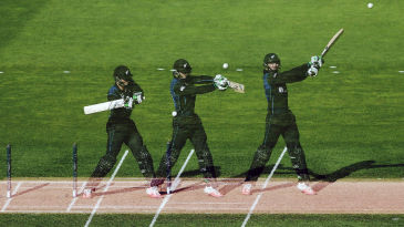 A multi-exposure shot of Martin Guptill cutting the ball