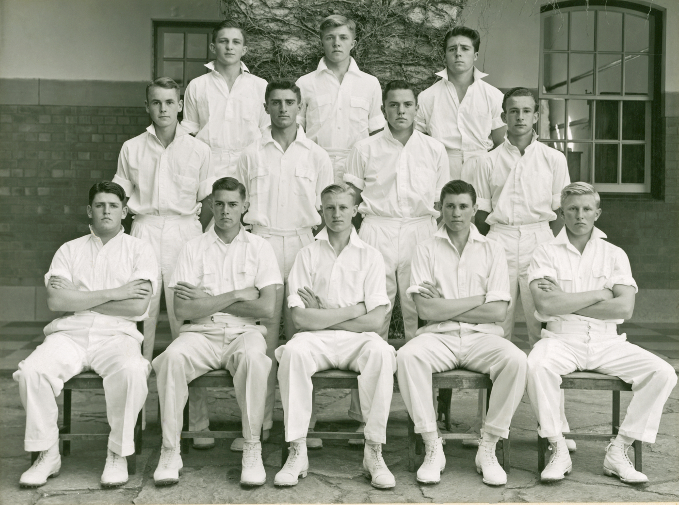 Player, top right, with the rest of the King Edward School cricket team