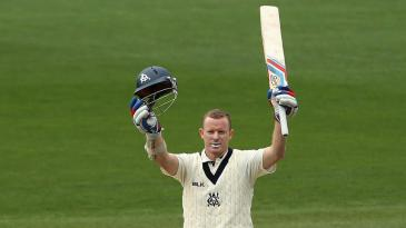 Chris Rogers celebrates his 72nd first-class century